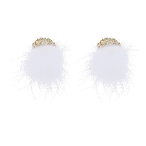 LARGE GOLD STUD W/WHITE FAUX FEATHER EARRINGS