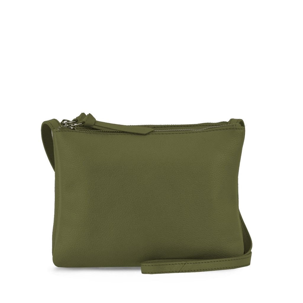 OLIVE DOUBLE ZIP CROSSBODY