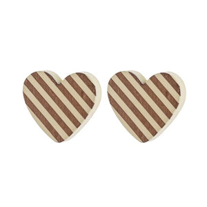 STRIPED HEART STUD EARRING