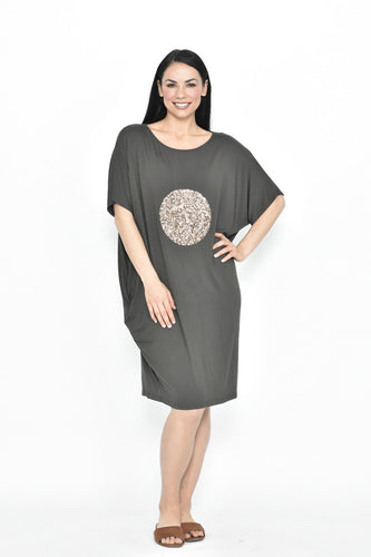 CIRCLE SEQUIN JERSEY DRESS