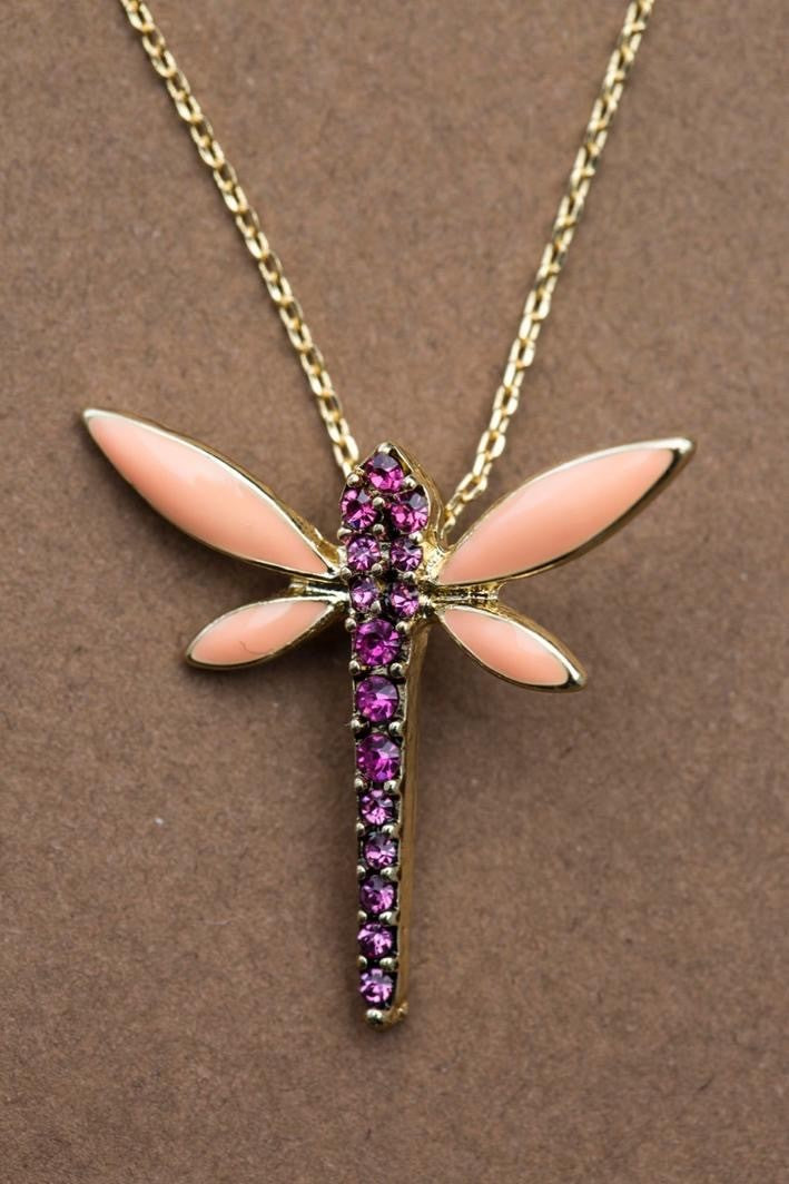 DRAGONFLY NECKLACE - PEACH