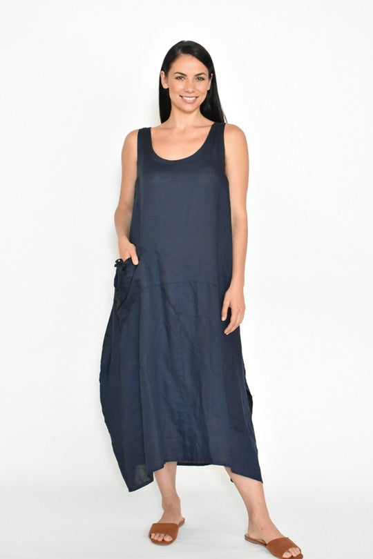 STRING POCKET LINEN BLEND DRESS