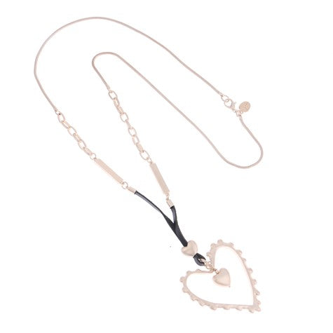 GOLD HEART CHAIN AND LEATHER STRAP