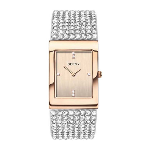 SQUARE ROSE GOLD WATCH MESH