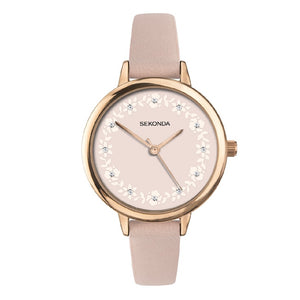 ROSE GOLD CASE ROSE FLORAL WATCH DIAL WITH STONES