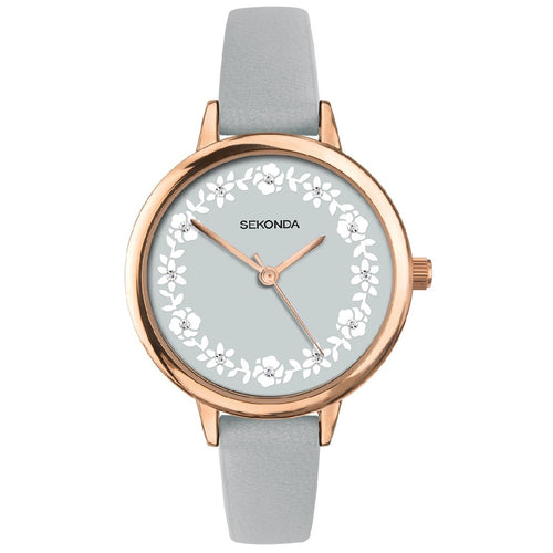 ROSE GOLD CASE WATCH GREY FLORAL DIAL WITH STONES