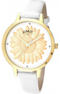 GOLD 3D SUNFLOWER WATCH WHITE BAND