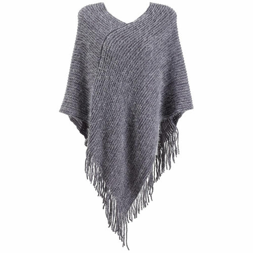 GREY MOHAIR PONCHO