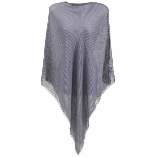 GREY PLEATED PONCHO