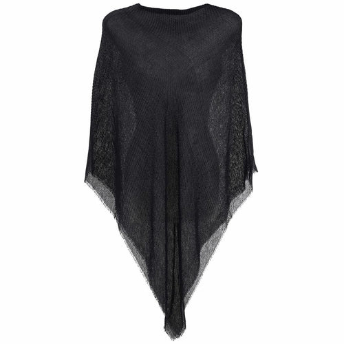 BLACK PLEATED PONCHO
