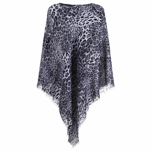 GREY/WHITE ANIMAL PRINT PONCHO