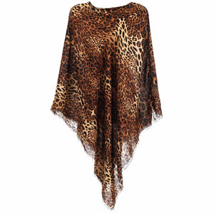 BROWN/BLACK ANIMAL PRINT PONCHO