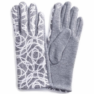 GREY EMBROIDERED GLOVES