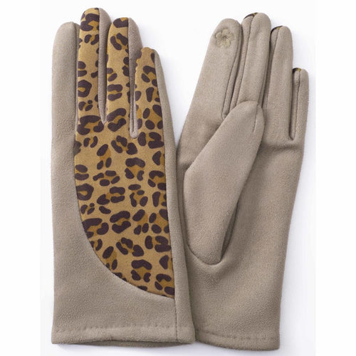 TAN LEOPARD PRINT GLOVES