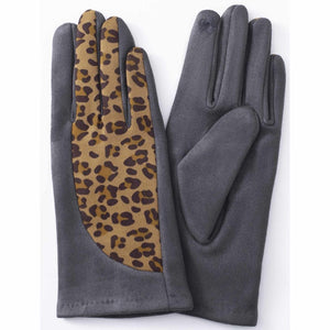 GREY ANIMAL PRINT GLOVES