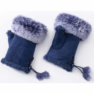 BLUE FINGERLESS GLOVES