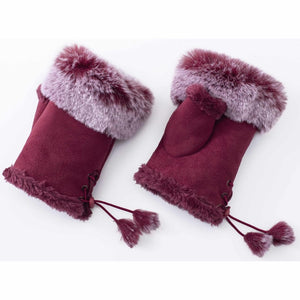 WINE FINGERLESS GLOVES