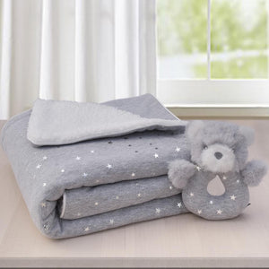 SHERPA BLANKET & RATTLE GREY STARS