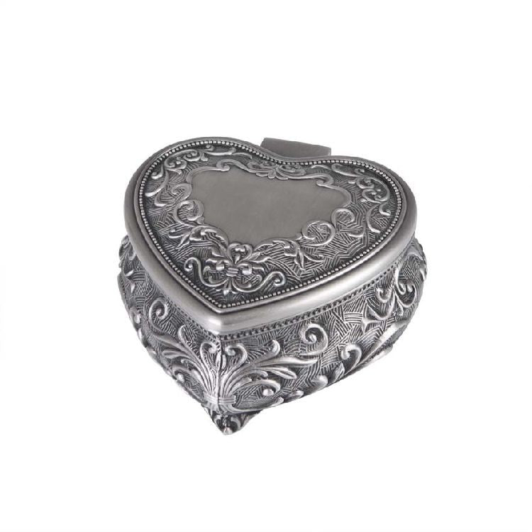 DECO PEWTER HEART JEWEL BOX