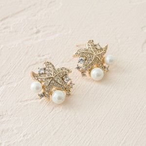 CUBIC ZIRCONIA STARFISH & PEARL CLUSTER EARRINGS