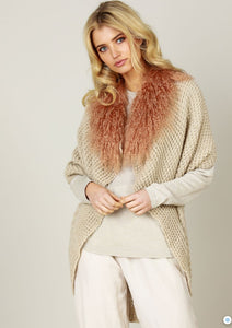 KNIT CAPE W/FUR TRIM