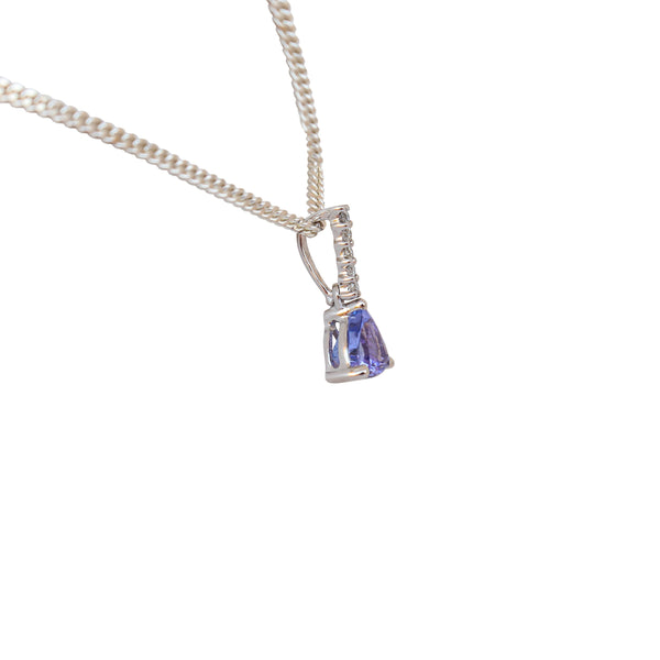 Trillion Tanzanite and Diamond Pendant in White Gold
