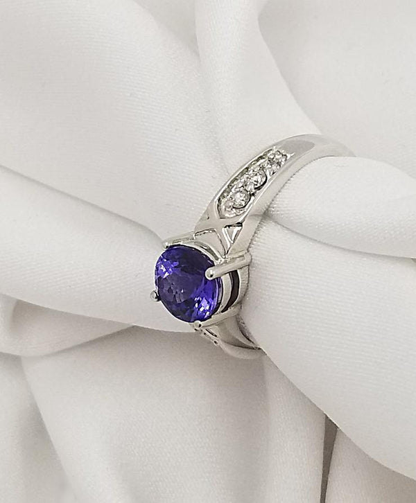 18 kt White Gold Round Tanzanite and Diamond Ring - Cape Diamond Exchange