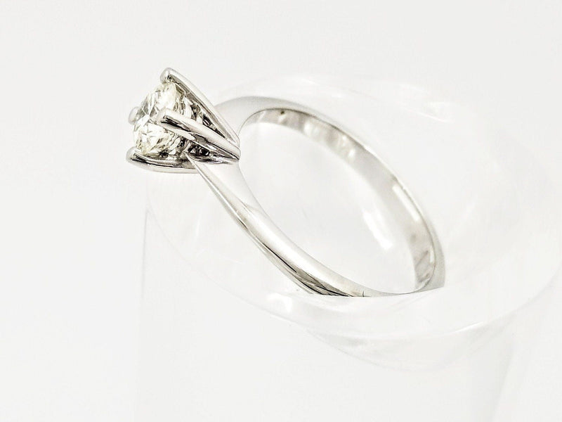 18 kt White Gold White Ice Cream Cone Solitaire Diamond Ring - Cape Diamond Exchange