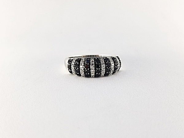 9kt White Gold Half Dome Ring with Black and White Diamonds - Cape Diamond Exchange