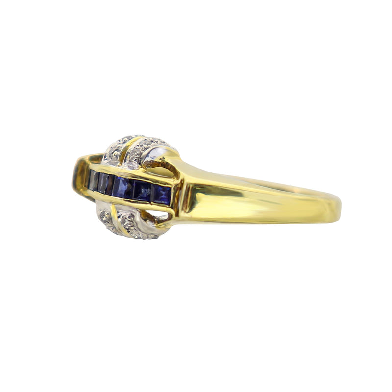 Six row Sapphire and Diamond Ring in Yellow Gold