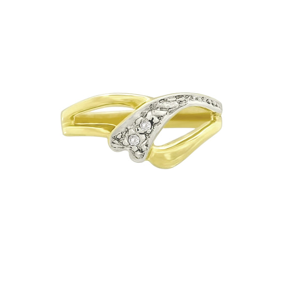 9 kt Yellow Gold Cubic Zircon Ring Dainty Design