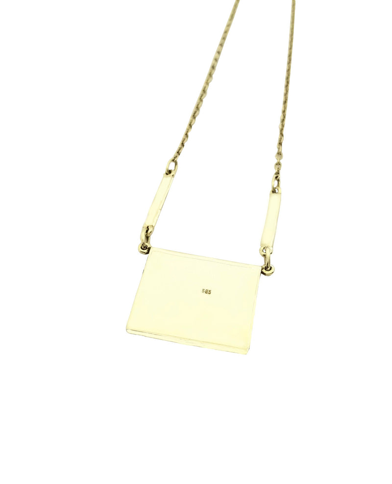 Gold Rectangle Elephant Hair Pendant - Cape Diamond Exchange
