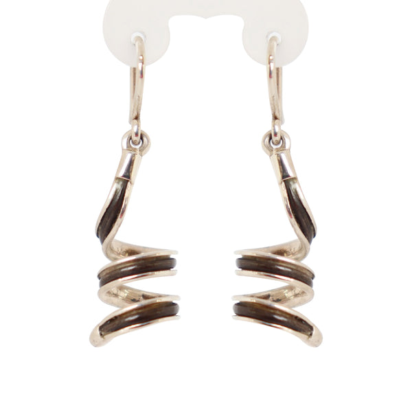 Silver Spiral Elephant Hair Hanging Earrings