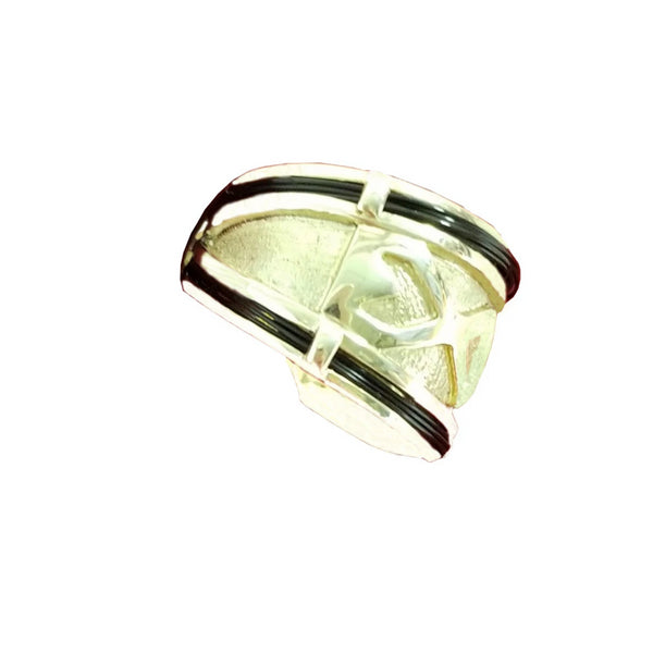 Wide 14 kt Yellow Gold Ring with Elephant Hair