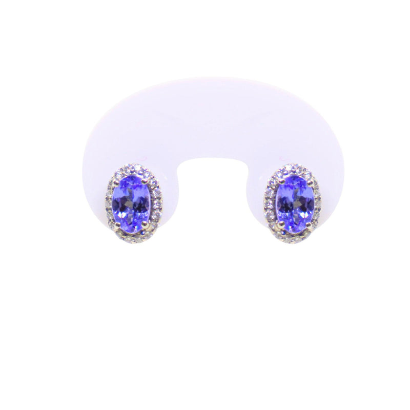 14kt White Gold Earrings: Oval Tanzanite with Halo Diamonds - Cape Diamond Exchange