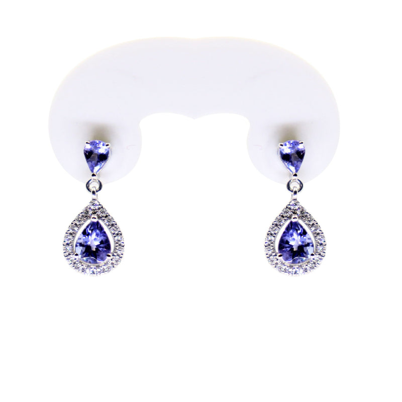 14kt White Gold Pear Tanzanite and Diamonds Drop Earrings - Cape Diamond Exchange