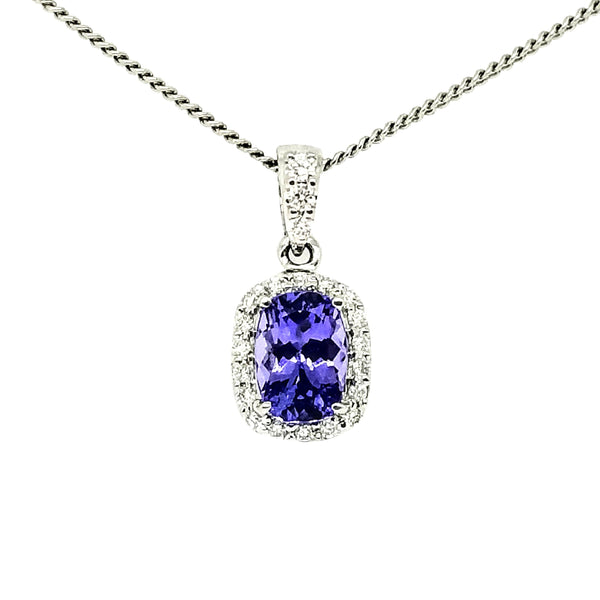 14 kt White Gold Tanzanite and Diamond Halo pendant - Cape Diamond Exchange