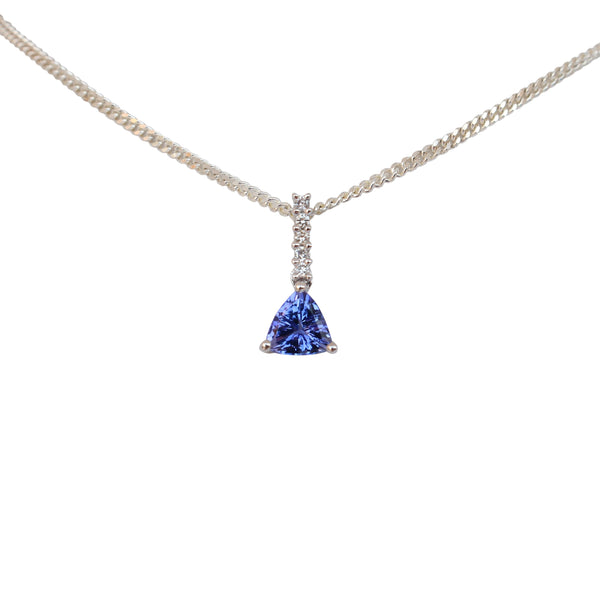 Tanzanite and Diamond Pendant set in 14 kt White Gold