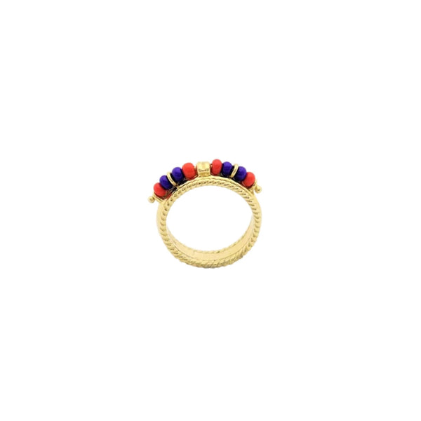 14kt Yellow Gold African Beaded Color Ring - Cape Diamond Exchange