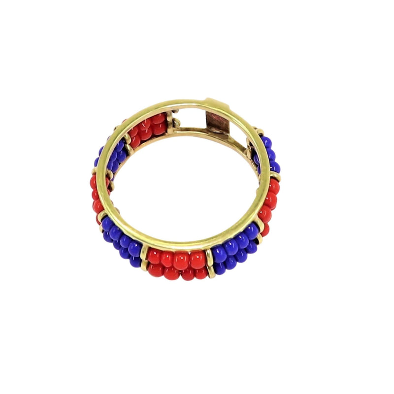 14 kt Yellow Gold Two Color African Bead Ring - Cape Diamond Exchange