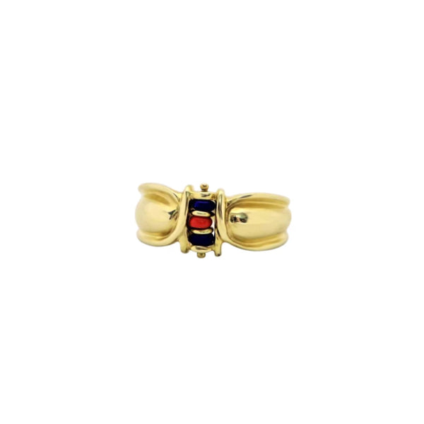 Yellow Gold African Art Butterfly Beaded Ring - Cape Diamond Exchange