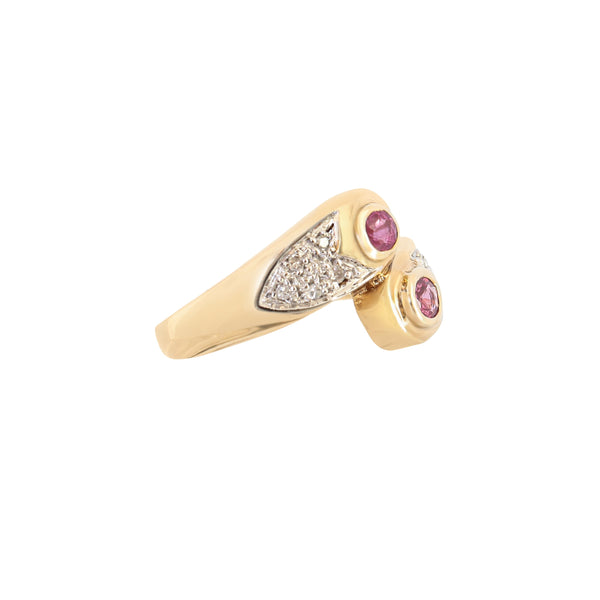 Pave Diamond and round Ruby Ring