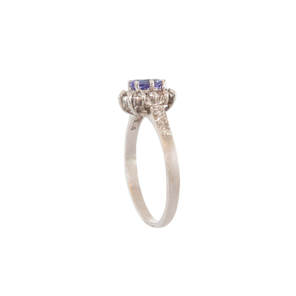 Flower ring with an Oval Tanzanite and Brilliant Diamonds at cape diamond exchange