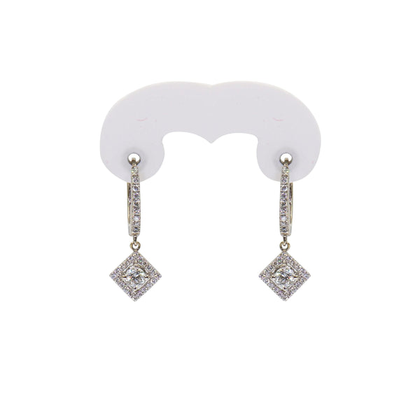 Triangle Diamond Drop Huggie Earrings