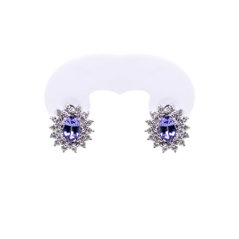 18kt White Gold Oval Tanzanite and Diamond Cluster Earring - Cape Diamond Exchange