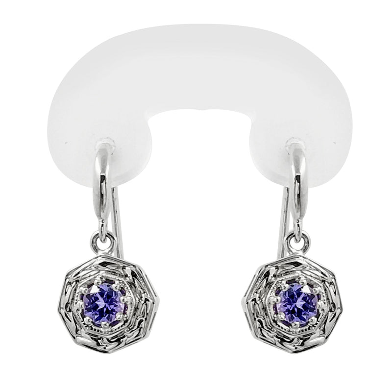 18 kt White Gold Drop Tanzanite Earrings