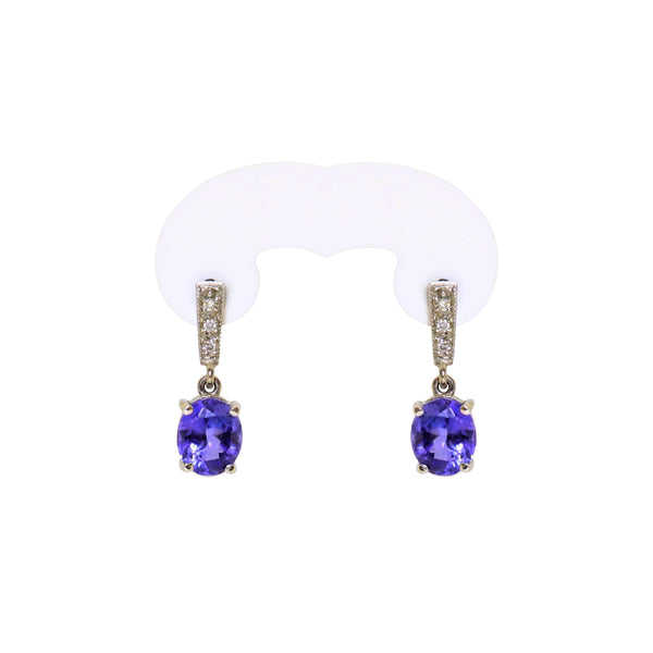 18 kt White Gold Oval Tanzanite and Diamond Drop Earrings - Cape Diamond Exchange