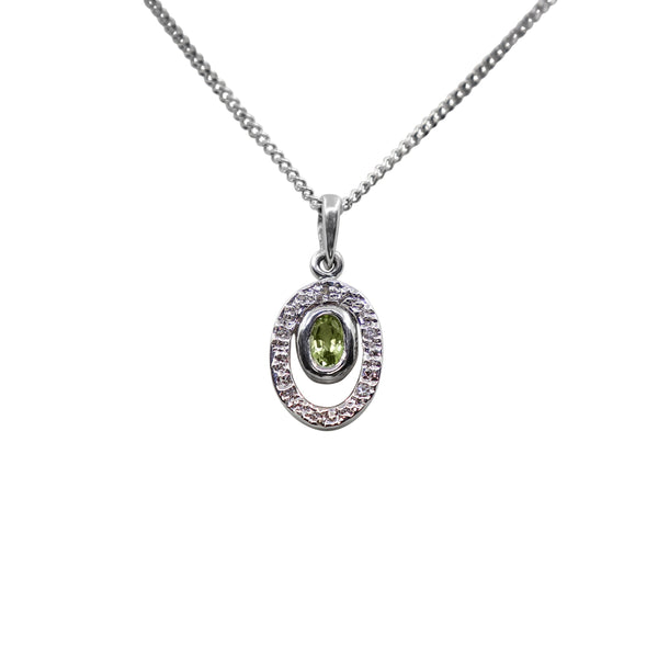 18 kt White Gold Peridot and Diamond Floating Pendant