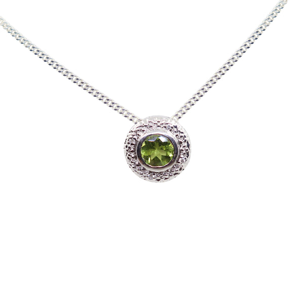 Peridot Gemstone set in White Gold