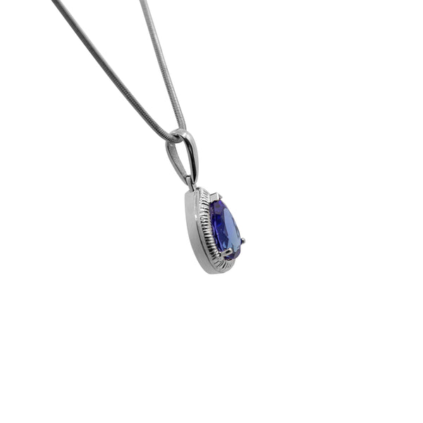 White Gold Pear Shaped Tanzanite Pendant